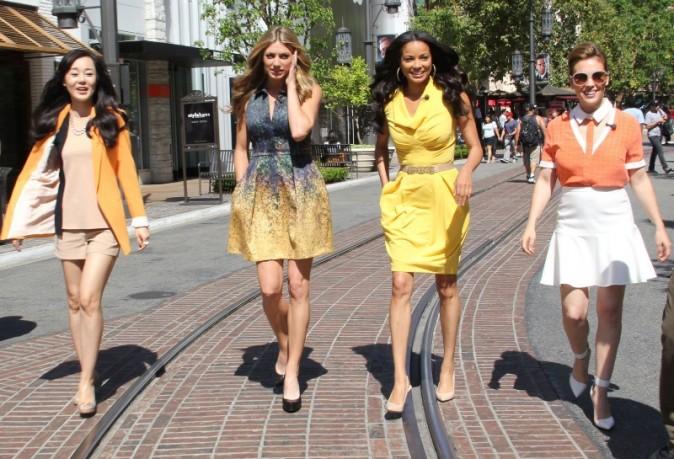 """Alyssa Milano, Rochelle Aytes, Jes Macallan et Yunjin Kim en promo pour leur nouvelle série """"Mistresses"""" à Hollywood, le 14 mai 2013."""