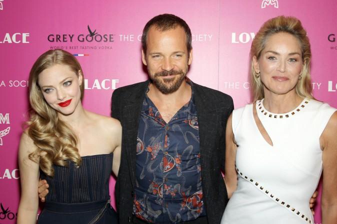 """Amanda Seyfried, Peter Sarsgaard et Sharon Stone lors de la première du film """"Lovelace"""" à New York, le 30 juillet 2013."""