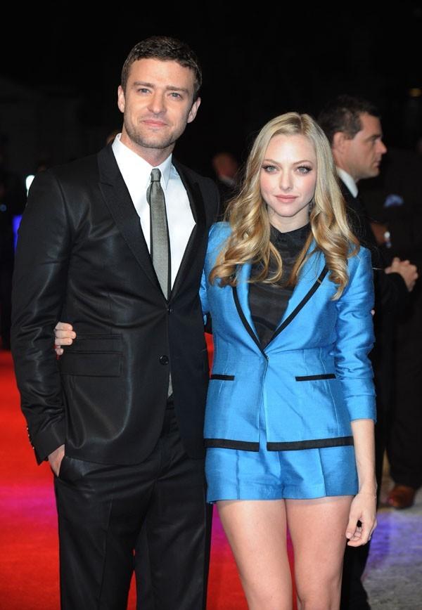 Justin Timberlake et Amanda Seyfried à l'avant-première de Time Out hier à Londres