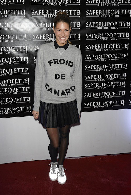 Laury Thilleman lors de l'inauguration de Saperlipopette, le restaurant de Norbert Tarayre à Puteaux, le 17 novembre 2014