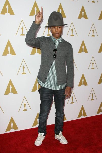 Pharrell Williams lors du déjeuner des nommés aux Oscars, le 10 février 2014.