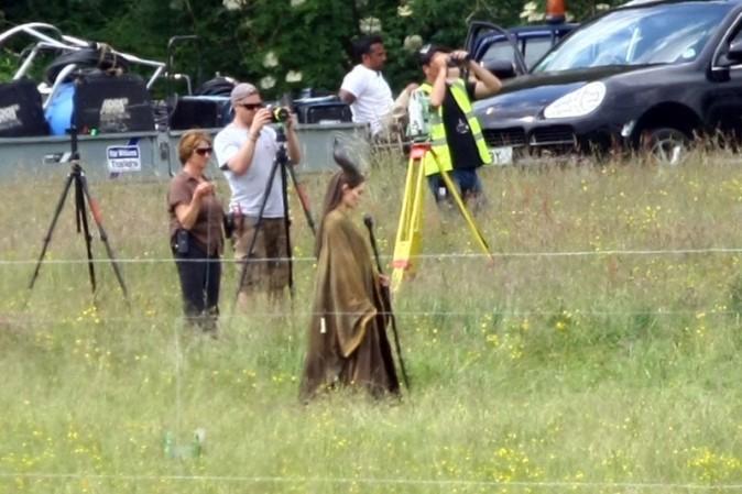 Angelina Jolie sur le tournage de Maleficent