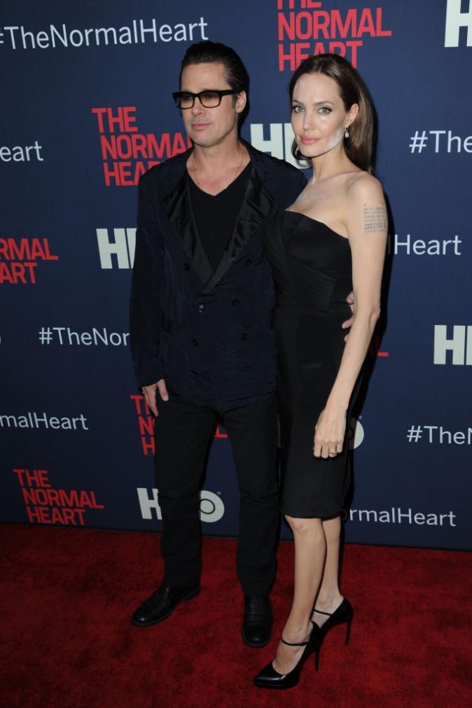 """Brad Pitt et Angelina Jolie lors de la présentation du film """"The Normal Heart"""" à New York, le 12 mai 2014."""