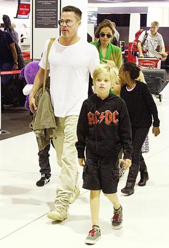 Angelina Jolie, Brad Pitt et leurs enfants à Sydney le 5 février 2014