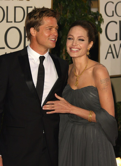 Brad Pitt et Angelina Jolie en 2007 à la soirée des Goldent Globes