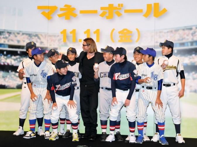 Brad Pitt lors de la première du film Moneyball au Japon, le 8 novembre 2011.