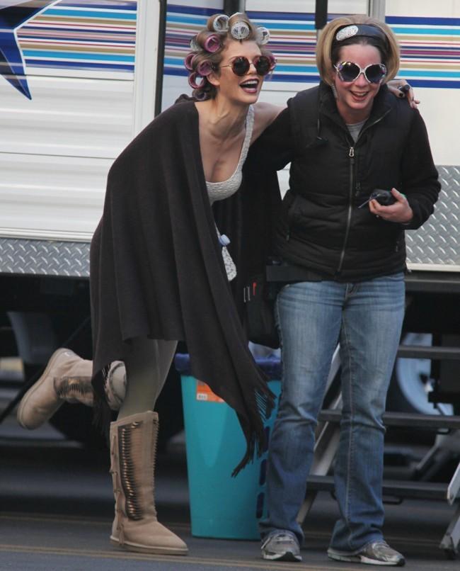AnnaLynne McCord sur le tournage de 90210 à Los Angeles le 16 janvier 2013