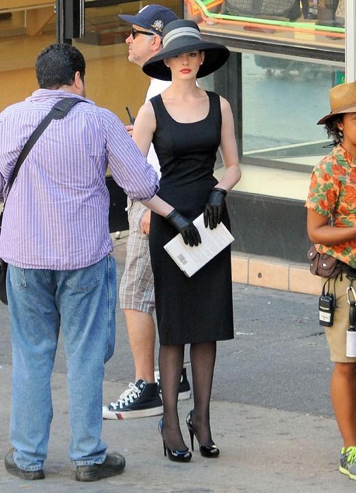 Anne Hathaway sur le tournage du film The Dark Knight Rises