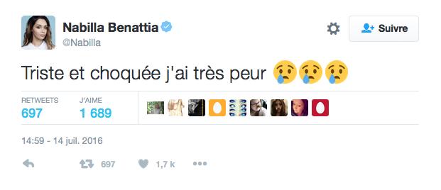 Le message de Nabilla Benattia