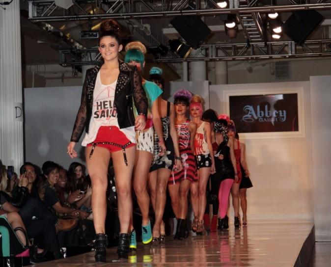 Kylie Jenner défile pour la marque Abbey Dawn d'Avril Lavigne lors de la Fashion Week de New York, le 10 septembre 2012.