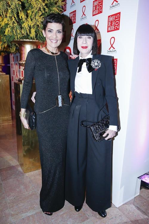 Cristina Cordula et Chantal Thomass au dîner de la mode, le 29 janvier 2015