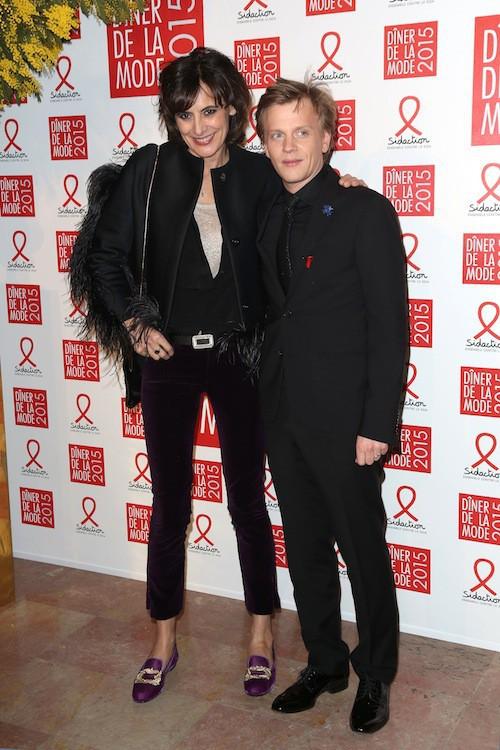 Inès de la Fressange et Alex Lutz au dîner de la mode, le 29 janvier 2015