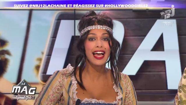Ayem Nour sur le plateau d'Hollywood Girls 2, le mag