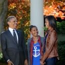 Barack Obama et ses filles Sasha et Malia le 21 novembre 2012