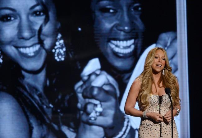 Mariah Carey sur la scène des BET Awards à Los Angeles, le 1er juillet 2012.