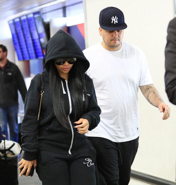 Rob Kardashian et Blac Chyna à l'aeroport de New York hier