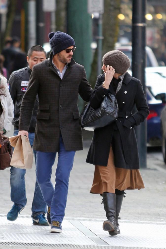 Blake Lively et Ryan Reynolds à Vancouver, le 23 mars 2014.