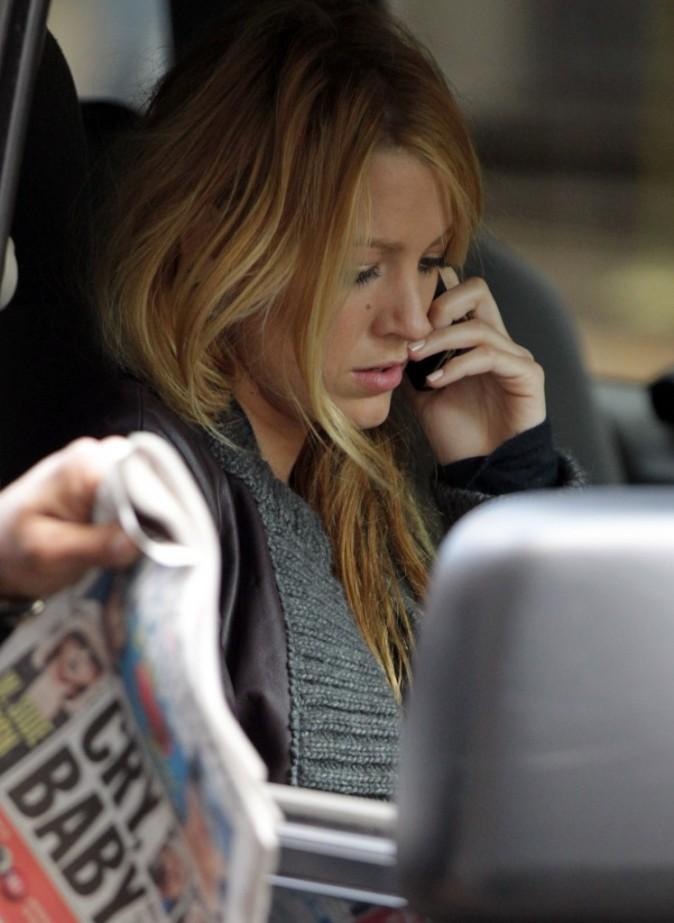 Blake Lively sur le plateau de tournage de Gossip Girl, le 1er février 2012.