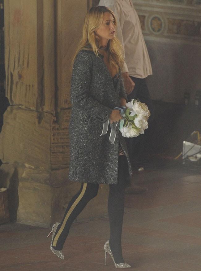 Blake Lively sur le tournage de Gossip Girl le 15 octobre 2012