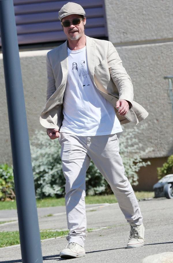 Brad Pitt à l'aéroport de Marseille le 17 juillet 2014