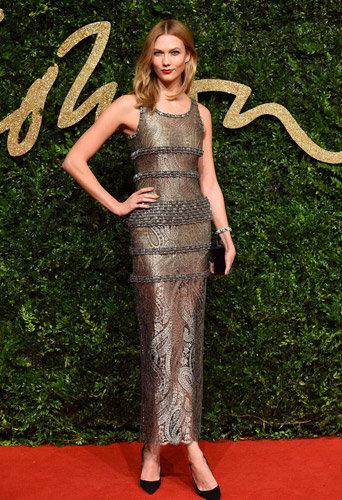 Karlie Kloss aux British Fashion Awards, à Londres, le 23 novembre 2015