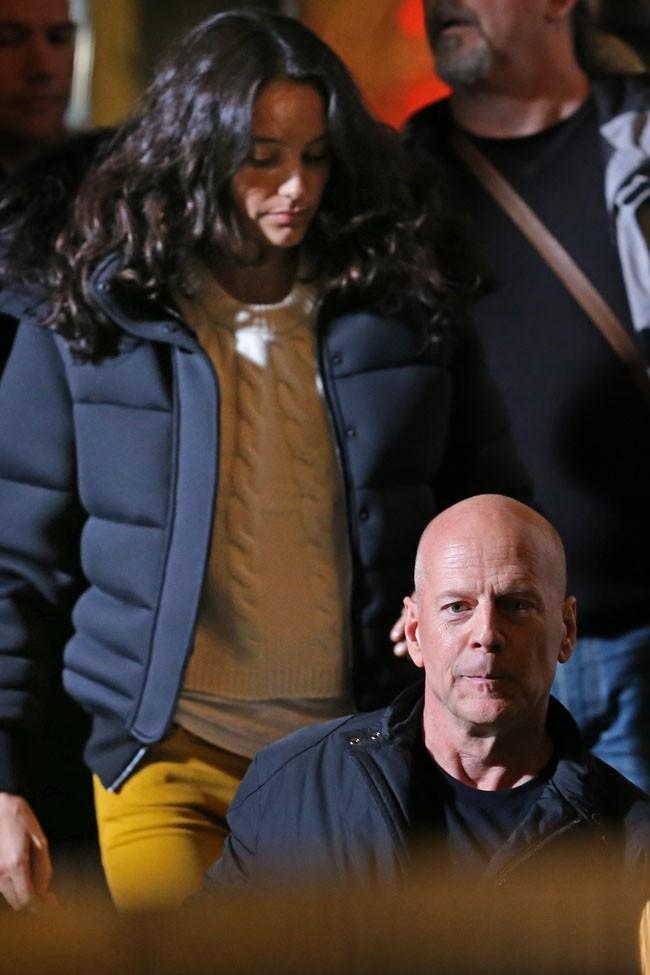 Bruce Willis à Londres avec sa femme Emma e leur fille Mabel le 12 novembre 2012