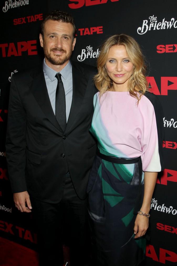 """Jason Segel et Cameron Diaz lors de la première du film """"Sex Tape"""" à New York, le 14 juillet 2014."""