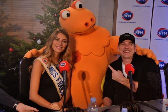 Camille Cerf (Miss France 2015) et Garou à la matinale spéciale Noël de RFM le 19 décembre 2014