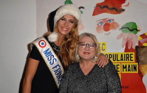 Camille Cerf (Miss France 2015) et Josiane Balasko aux 70 ans du Secours Populaire le 8 décembre 2014 !