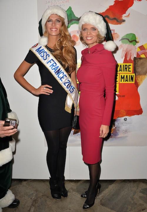 Camille Cerf (Miss France 2015) et Sylvie Tellier aux 70 ans du Secours Populaire le 8 décembre 2014 !