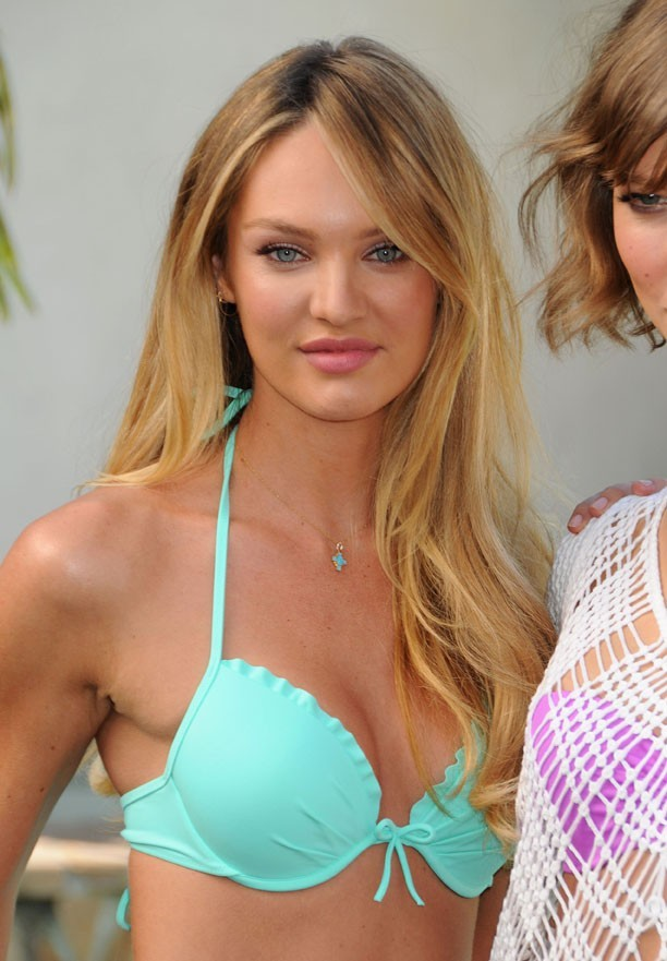 Candice Swanepoel lance la nouvelle collection maillots de bain Victoria's Secret à Beverly Hills le 12 mars 2013