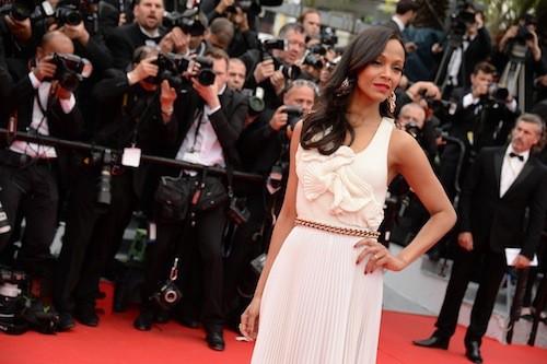 Zoe Saldana en Victoria Beckham pour la première montée des marches du 67ème festival de Cannes