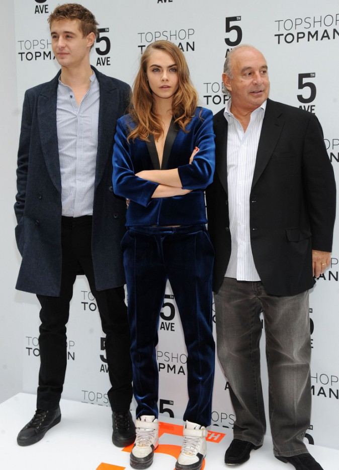 Cara Delevingne, Max Irons et Sir Philip Green le 5 novembre 2014