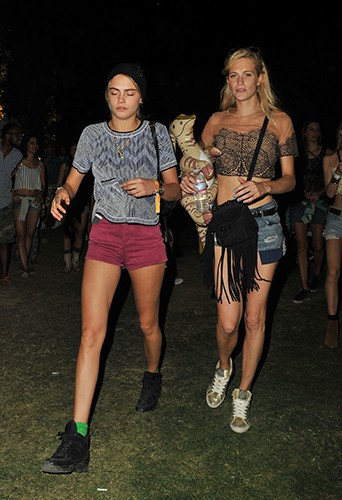 Cara et Poppy Delevingne à Indio le 11 avril 2014