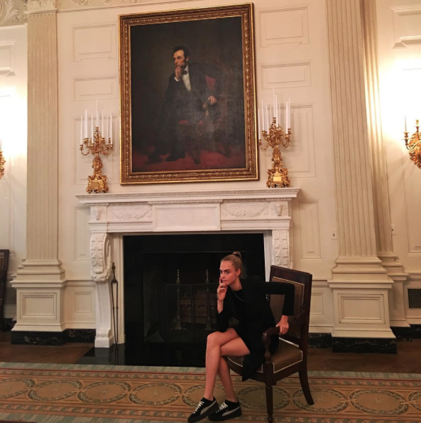 Cara Delevingne à la Maison Blanche