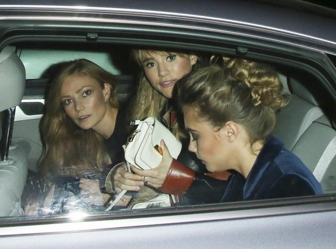 Clara Paget, Suki Waterhouse et Cara Delevingne à Londres le 16 septembre 2014