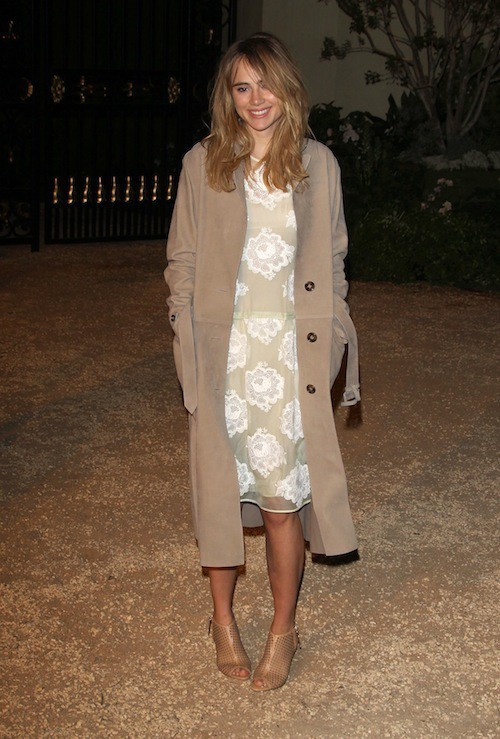 Suki Waterhouse à la soirée Burberry à Los Angeles, le 16 avril 2015