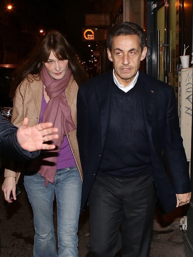 Nicolas Sarkozy et Carla Bruni le 28 janvier 2013 à Paris