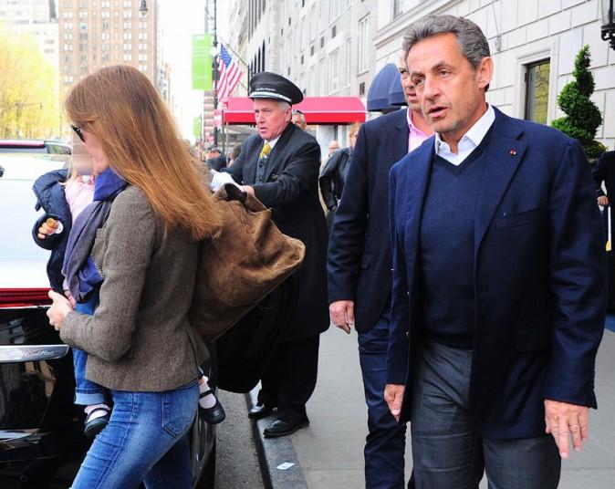 Carla Bruni-Sarkozy et Nicolas Sarkozy à New-York le 25 avril 2014