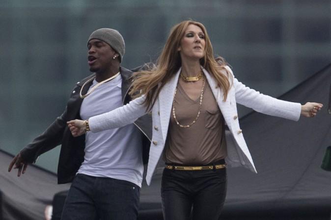 Céline Dion et Ne-Yo sur le tournage du clip d'Incredible à Los Angeles le 24 janvier 2014