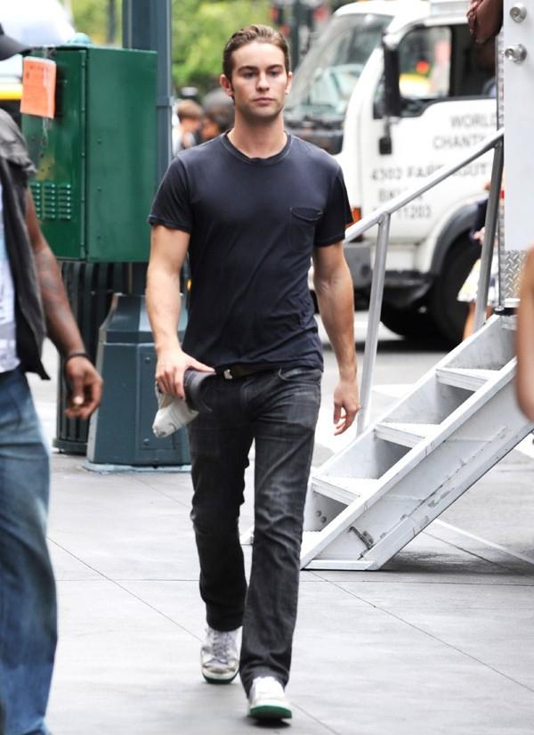 Chace Crawford sur le tournage de Gossip Girl à New-York le 21 août 2012