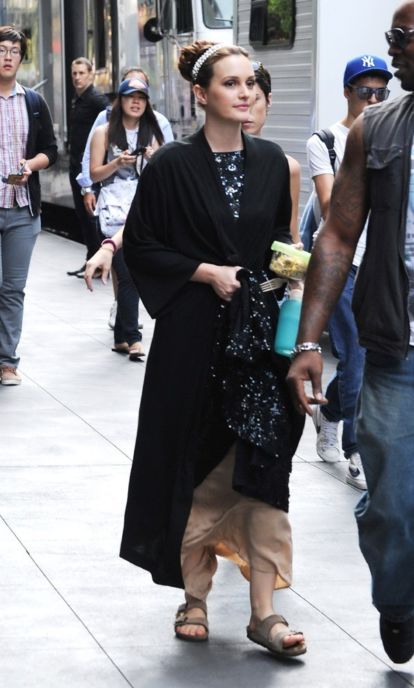 Leighton Meester sur le tournage de Gossip Girl à New-York le 21 août 2012