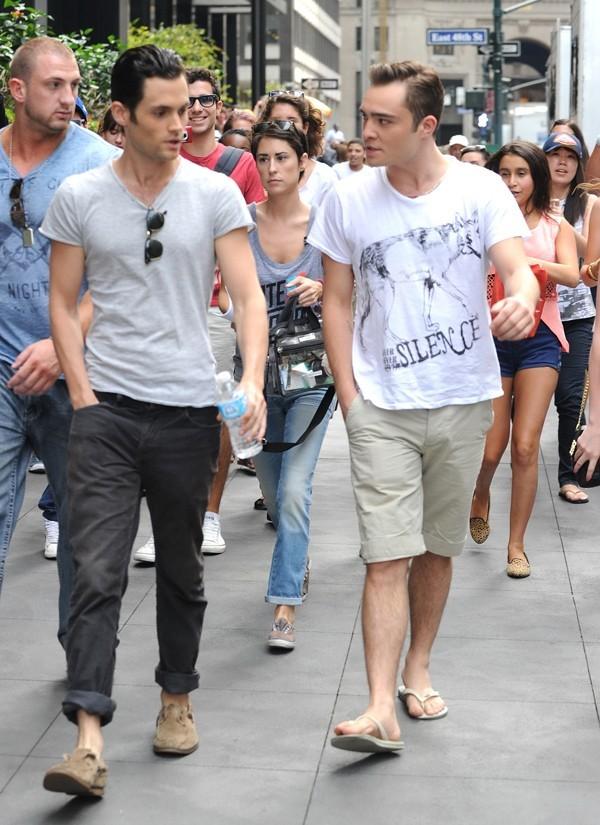 Penn Bagdley et Ed Westwick sur le tournage de Gossip Girl à New-York le 21 août 2012