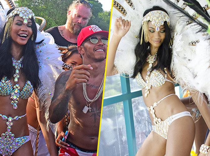 Photos : Chanel Iman : Hyper sexy, elle fait tourner la tête de Lewis Hamilton à la Barbade !