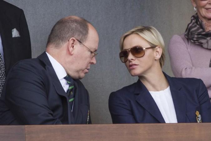 Abert et Charlène de Monaco au tournoi de tennis de Monte-Carlo le 20 avril 2013