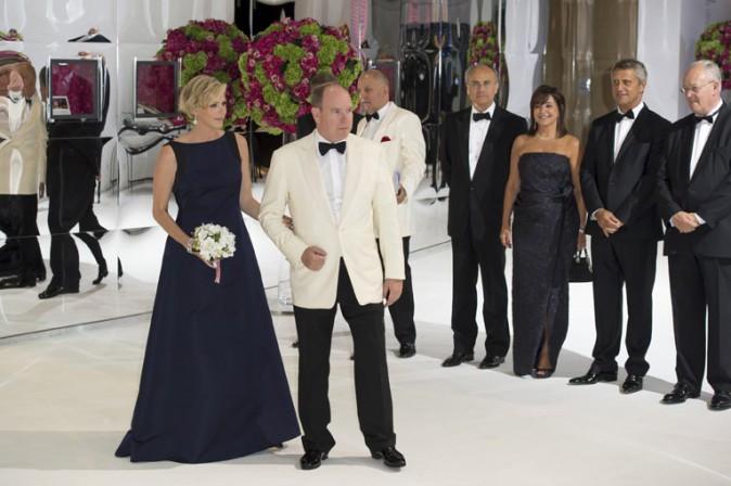 Charlène et Albert de Monaco au Gala de la Croix Rouge organisé à Monaco le 1er août 2014
