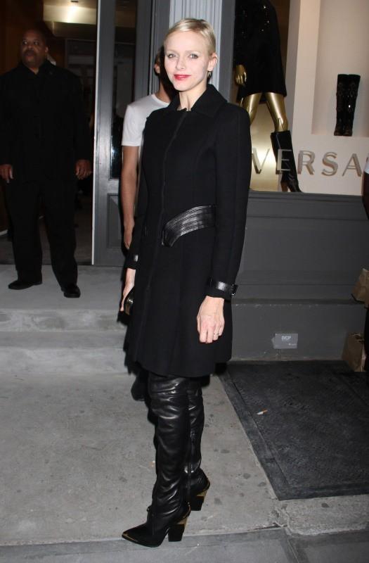 Charlène de Monaco lors de l'ouverture de la nouvelle boutique Versace à New York, le 24 octobre 2012.