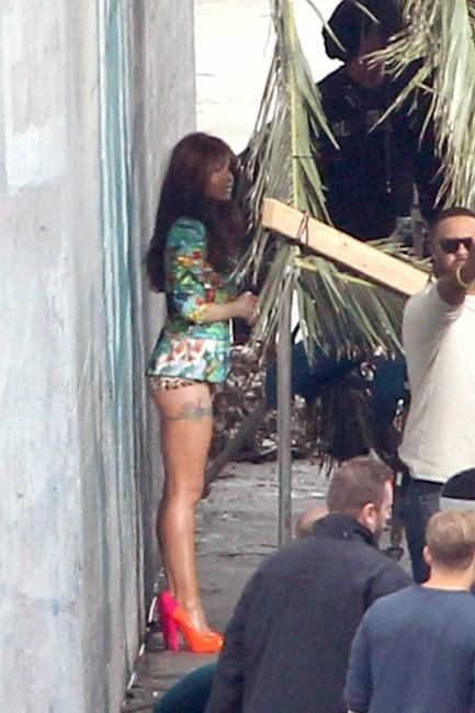 Cheryl Cole en plein tournage de son nouveau clip à Los Angeles, le 1er avril 2012.
