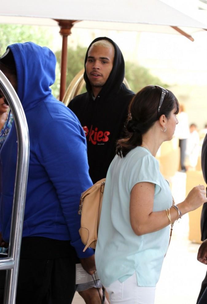 Chris Brown à l'aéroport de Nice, le 22 juillet 2012.