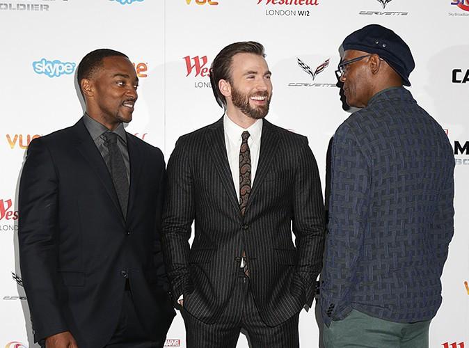 Anthony Mackie, Chris Evans et Samuel L. Jackson à Londres le 20 mars 2014